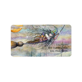 Halloween Witch in Flight Address Labels
