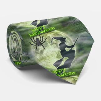 Halloween Witch in Flight and Spider Tie