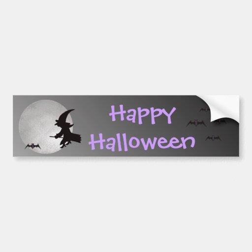 Halloween Witch in Flight Bumper Sticker