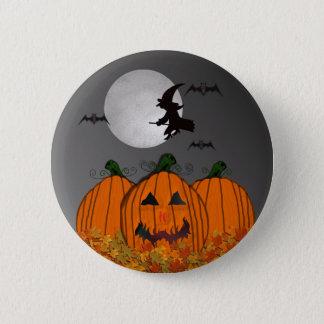 Halloween Witch in Flight Button