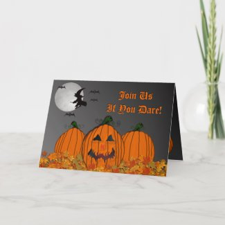 Halloween Witch In Flight Party Invitation card