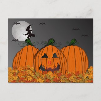 Halloween Witch in Flight Party Invitations postcard