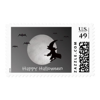 Halloween Witch in Flight Postage