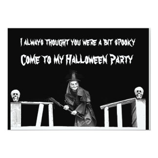 Halloween witch in hat - party invitation card