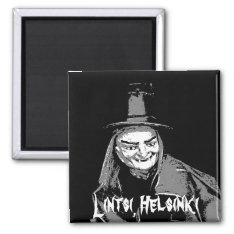 Halloween Witch In Hat Ugly Teeth Magnet at Zazzle
