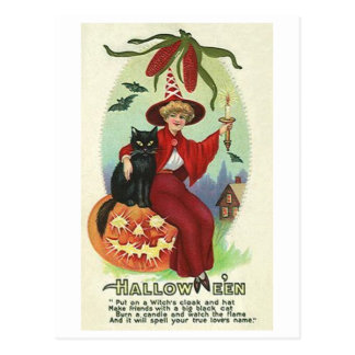Halloween Witch in Red Cape Postcard