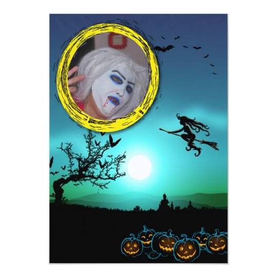 Halloween Witch, Jack o' Lanterns, Photo Frame Card