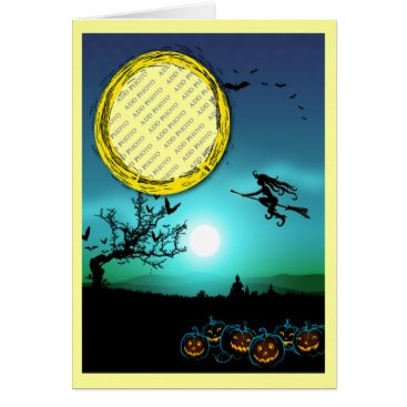 Halloween Themed Halloween Witch, Jack o' Lanterns, Photo Frame Card