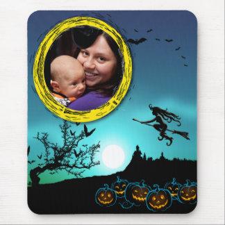 Halloween Witch, Jack o' Lanterns, Photo Frame Mouse Pad