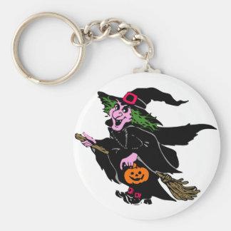 Halloween Witch Basic Round Button Keychain