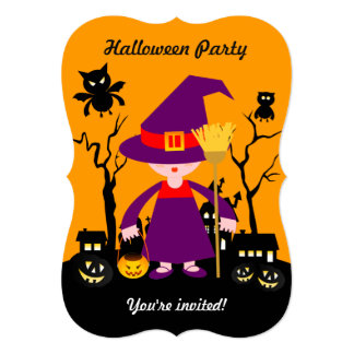 Halloween witch kid goes trick or treating card