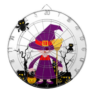Halloween witch kid goes trick or treating dart board