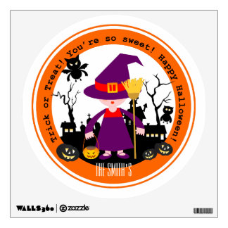 Halloween witch kid goes trick or treating wall sticker