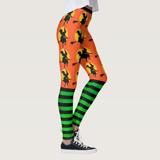 d33f798199878 Halloween Witch Leggings Womens Orange Yoga Pants   Zazzle.com