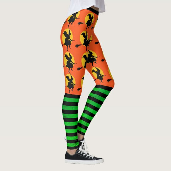 Halloween Witch Leggings Womens Orange Yoga Pants