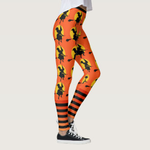 ae197d110f880 Halloween Witch Leggings Womens Orange Yoga Pants