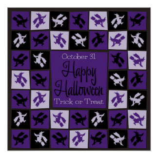 Halloween witch mosaic poster