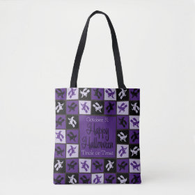 Halloween witch mosaic tote bag