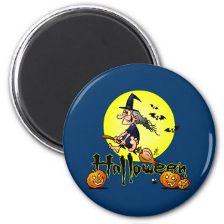 Halloween, witch on a broom, bats and pumpkins 2 inch round magnet