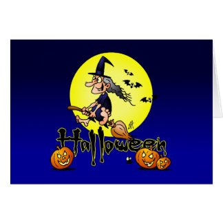 Halloween, witch on a broom, bats and pumpkins greeting card