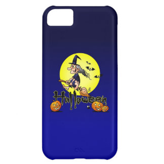 Halloween, witch on a broom, bats and pumpkins iPhone 5C case