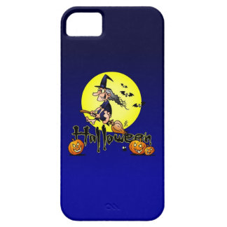 Halloween, witch on a broom, bats and pumpkins iPhone SE/5/5s case