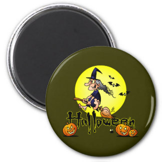Halloween, witch on a broom, bats and pumpkins refrigerator magnets