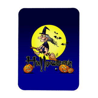 Halloween, witch on a broom, bats and pumpkins flexible magnet