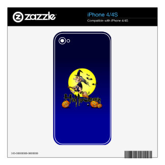 Halloween, witch on a broom, bats and pumpkins skin for the iPhone 4S
