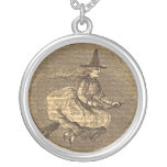 Halloween Witch on a Broom Personalized Necklace