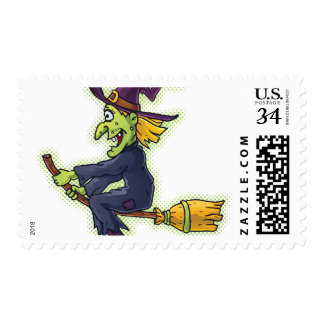 Halloween Witch on a Broom Postage