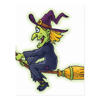 Halloween Witch on a Broom Postcard