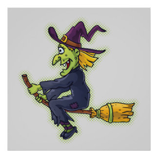 Halloween Witch on a Broom Poster