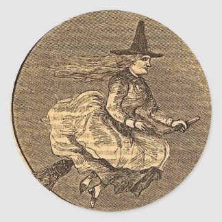 Halloween Witch on a Broom Round Stickers