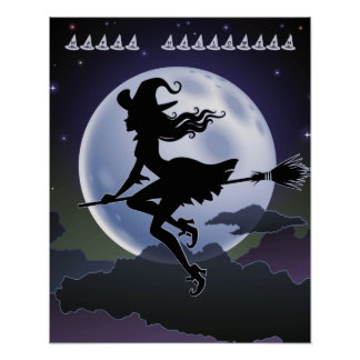 Halloween Witch on a Broom with full Moon Poster