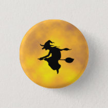 Halloween Witch on a broomstick button