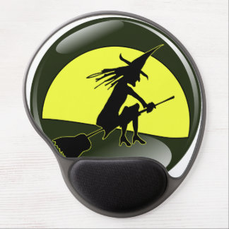 Halloween witch on broom in front of yellow moon gel mouse pad