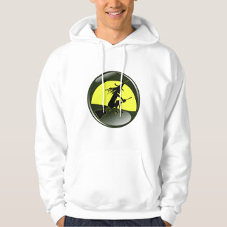 Halloween witch on broom in front of yellow moon hoodie