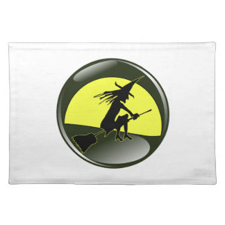 Halloween witch on broom in front of yellow moon placemat