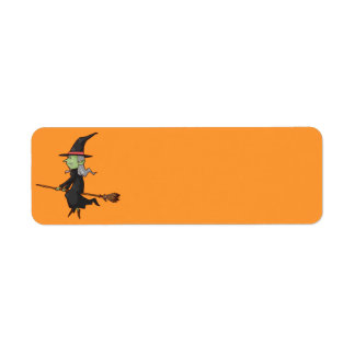 Halloween Witch on Broom Label