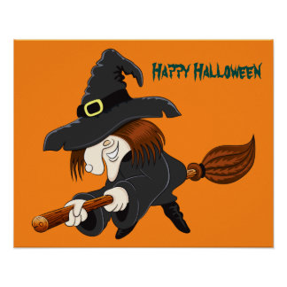 Halloween Witch on broom Poster