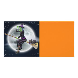 Halloween Witch on broom with cat Card