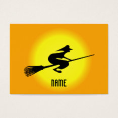 Halloween Witch On Broomstick Bookmark Business Business Card at Zazzle