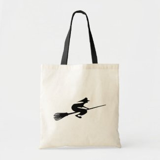 Halloween Witch On Broomstick Crafts Shopping Bags
