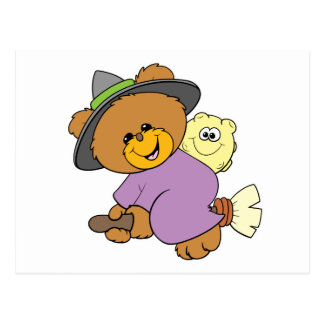halloween witch on broomstick cute teddy bear desi postcard