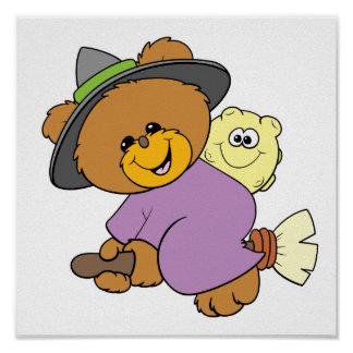 halloween witch on broomstick cute teddy bear desi poster