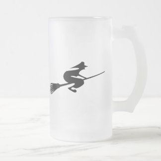 Halloween Witch On Broomstick Drinks Glass Frosted Glass Beer Mug