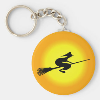 Halloween Witch On Broomstick Key Ring Key Chains