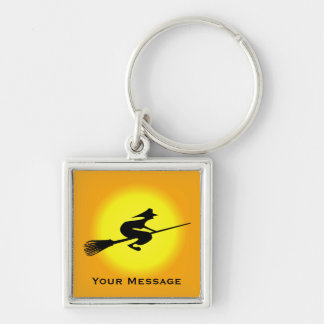 Halloween Witch On Broomstick Luggage & Laptop Tag Key Chains