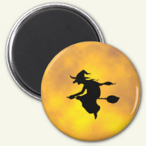 Halloween Witch on broomstick magnet Witch magnet